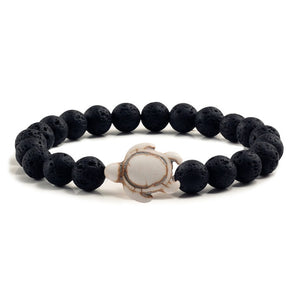 Summer Beach Sea Turtle Beads Bracelet for Men Charm Black Lava Natural