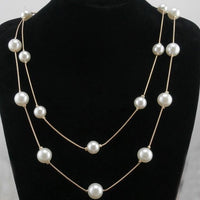 N826 Long Double Layer Simulated Pearls Necklaces Clavicle Fashion Jewelry Sweater Chain Necklace For Women NEW Arrival 2018