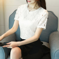 new summer short sleeve lace women shirt blouse fashion 2018 O-neck women's clothing shirt white women's tops blusas D710 30