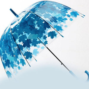 Yuding Fully-automatic Umbrellas For Woman Long-handle Transparent PVC Umbrella Maple Leaf Printing Bubble Dome Women's Umbrella
