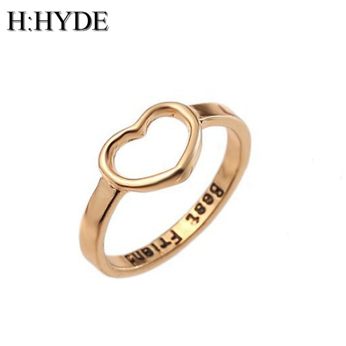 H:HYDE Best Friends Love Shape Charm Ring Anel Feminino Midi Mid Pikine Toe Bague Friendship Rings Eternal Forever Best Gifts