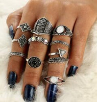 docona Leaf Stone Midi Ring Sets Vintage Crystal Opal Knuckle Rings for Women