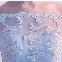 It's YiiYa Gray Boat Neck Short Sleeve Off The Shoulder Appliques Lace Prom Dresses High And Low Tea Length Formal Dress LX454