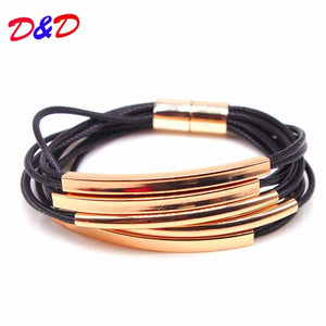 2018 New Fashion Jewelry Colors Multi Layers Leather Bracelet Women