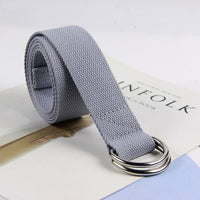Cotton Canvas All-match Waist Straps Women Canvas Belt D Shaped Double