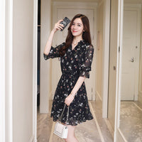 Chiffon Floral Boho Shirt Dress 2018 Korean Elegant Women Party Mini Dresses