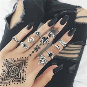 Tocona Vintage Antique Silver Rings Set Hollow Out Geometric Ring Sets Black Rhinestone Flower Knuckle Anillos Anel Ring 4839