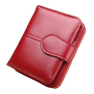 Wallet Short Wallet PU Women's Purse Zipper&Button Purse Red Small