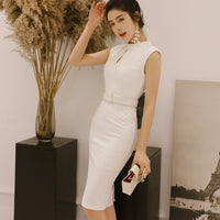 Solid New Women Office Pencil Dress Summer Sleeveless O-Neck Elegant Lady Bodycon Dress Vintage Hollow Out Party Dresses Vestios