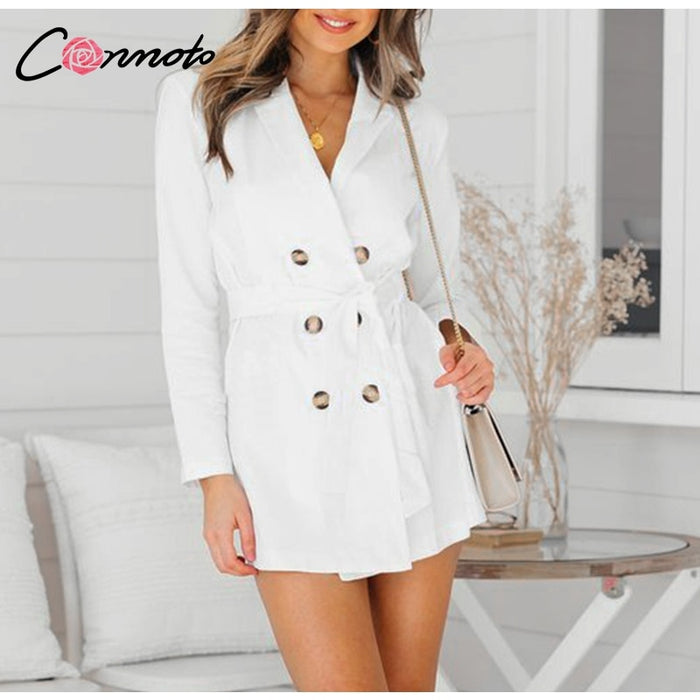 Conmotor 2018 Bow Long Trench Coat Elegant White Trench Coat Women Autumn