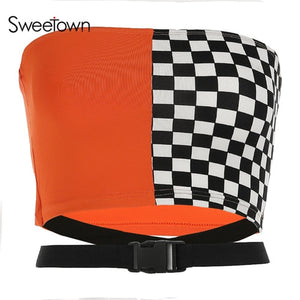 Sweetown Sexy Strapless Checkerboard Boob Tube Top Women Summer Buckle Belt Bandage Top Bralette Crop Bandeau Top Streetwear
