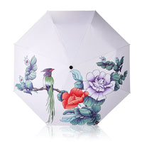 Fashion Ink Painting Flower and Bird Umbrella Rain Women Windproof Sun Rain Automatic Folding Umbrellas Lady Umbrella parasol