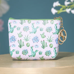 eTya Pu Leather Coin Purses Women Small Wallet Cactus Print Ladies Change