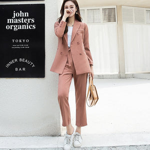 Autumn Women Pant Suits Double Breasted Notched Collar Jacket Blazer