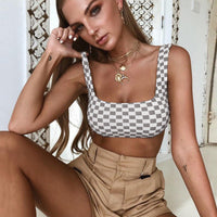 Causey Sexy Rushed Slim Crop Top Women Plaid 2018 Summer Top Women Casual Party Beach Tank Top Cropped feminino