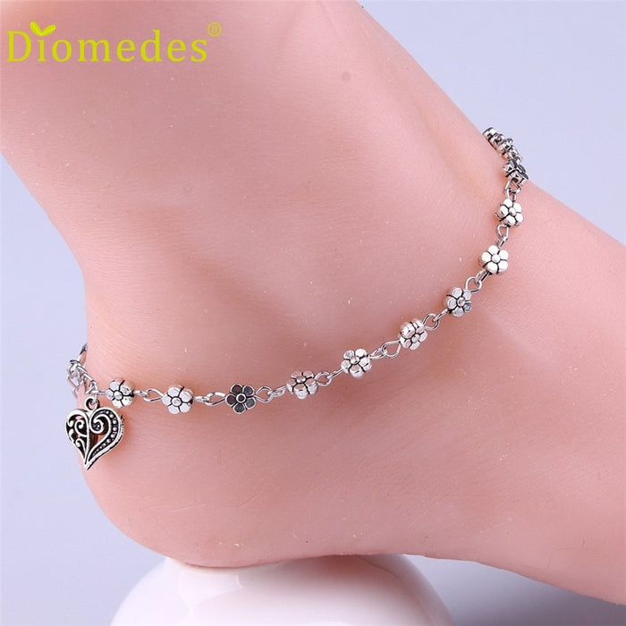 Anklets Gussy Life wholesale Women Silver Bead Chain Anklet Ankle Bracelet Barefoot Sandal Beach Foot Dec629
