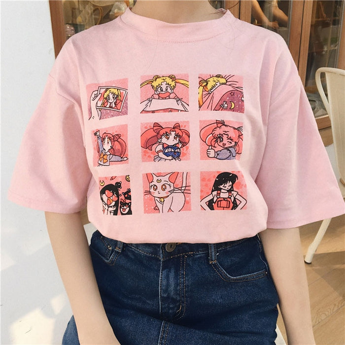 Summer Women's Fashion Large Size Casual Harajuku Cartoon Letters ulzzang Sailor Moon Short Sleeve Funny Half T-Shirt