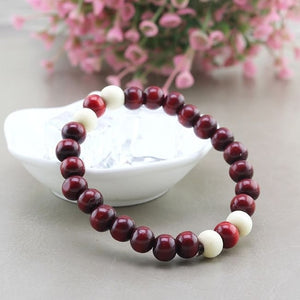 Ethnic style wooden bead stretch bracelet lap small beads for women and men