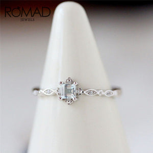 ROMAD Dainty Blue Crystal Ring for Women Simple Style Square Engagement