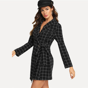 Shawl Collar Wrap Knot Workwear Autumn Shirt Dress Sexy Mini Dress 2019