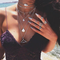 Boho Pentagram Turkish Eyes Maxi Colar Tassel Layered Gold Necklace Rhinestone