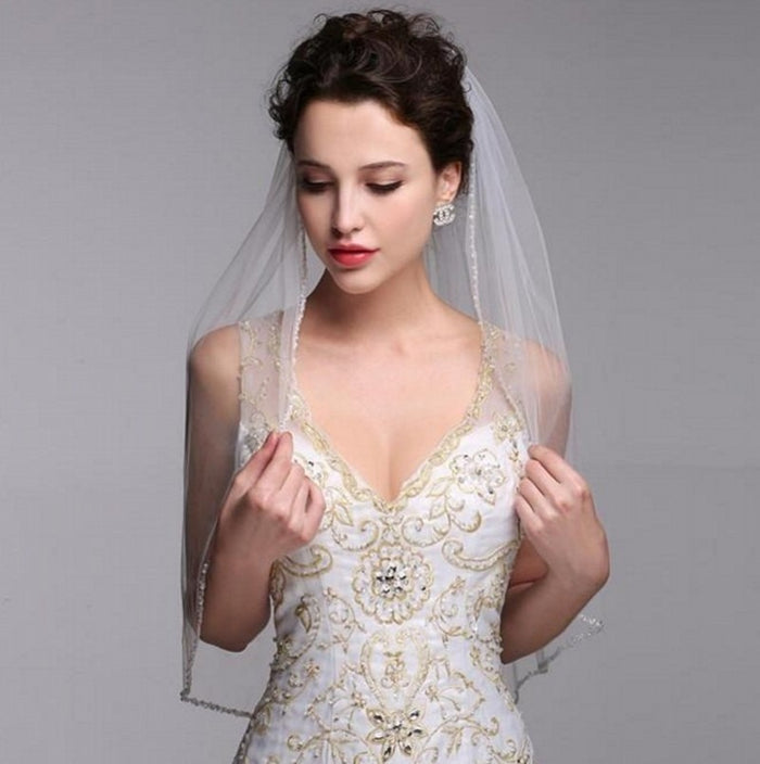 Woman Tulle Edge Beaded Wedding Veils With Comb One Layer White Ivory