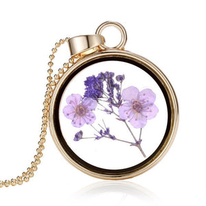 Glass Charms Pendant Necklace Dried Flower Real Dry Flower Round Locket Necklace Gold Chain Necklace for Women Jewelry Fashion