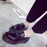 COOTELILI Tassel Flat Platform Shoes Women Fashion Slip On Oxford Shoes