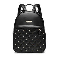 Petrichor Plaid Geometric Rivets Red Backpack Female PU Leather Women Shoulder Bags Girl School Bag Backpack Small Purse Ladies