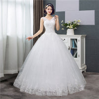 Korean Style V-Neck Lace Tank Sleeveless Floral Print Ball Gown Wedding Dress