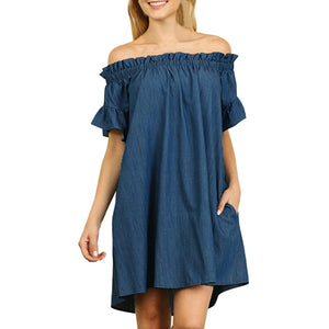 Dress Casual Plus Size Womens Off The Shoulder Bardot Denim Shirts Dress