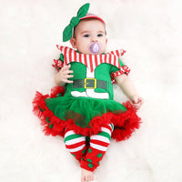 Newborn Romper Tutu Dress First Christmas Baby Clothing Girls Clown Suit 2019 New Year Party Dresses Infant Clothes 3pcs Set