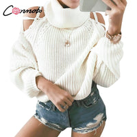 Conmoto Turtleneck Lace Up White Winter Sweaters Solid Cold Shoulder Casual Sweater Women Pullovers Knitted Sweater Jumper