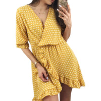 Summer Polka Dot Women Dress Boho Beach Sundress Sexy V-neck Kawaii Ruffles Half Sleeve Dresses Irregular Dress Plus Size GV103