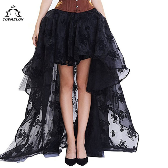 Women's Skirt Female Gothic Tulle Skirt Steampunk Maxi Lace Floral Ball Gown