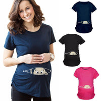New 2018 Summer Maternity Pregnancy T Shirt Women Cartoon Tee Baby Print Staring Pregnant Clothes Funny T-shirt Plus Size M-3XL