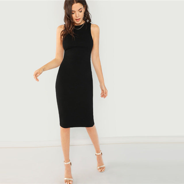 side Black Bodycon Elegant Office Ladies Work Wear Dress Women