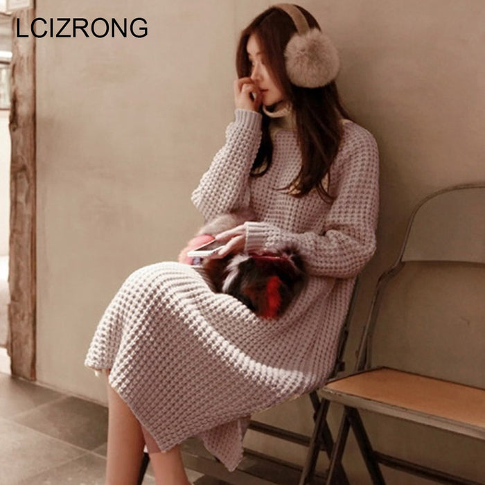 New Warm Long Sleeve Women Sweater Dress Thick Winter Woman Loose Dress Fashion Solid Warm Autumn Knitting Cotton Ladies Sexy