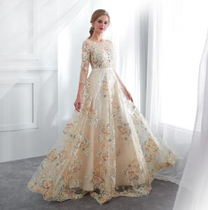 Floral Prom Dresses Walk Beside You Lace 3/4 Sleeves A-line Champagne Belt Empire Waist Long Evening Gowns Vestido De Formatura