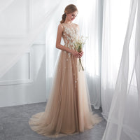 Champagne Prom Dresses Walk Beside You O-neck Transparent Lace Applique
