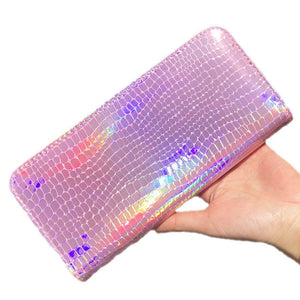 Wallet Women Handbag Holographic Leather Laser Organizer Wallets Ladies Long Wristlet purses Female Coin Girl Purse Card Pocket