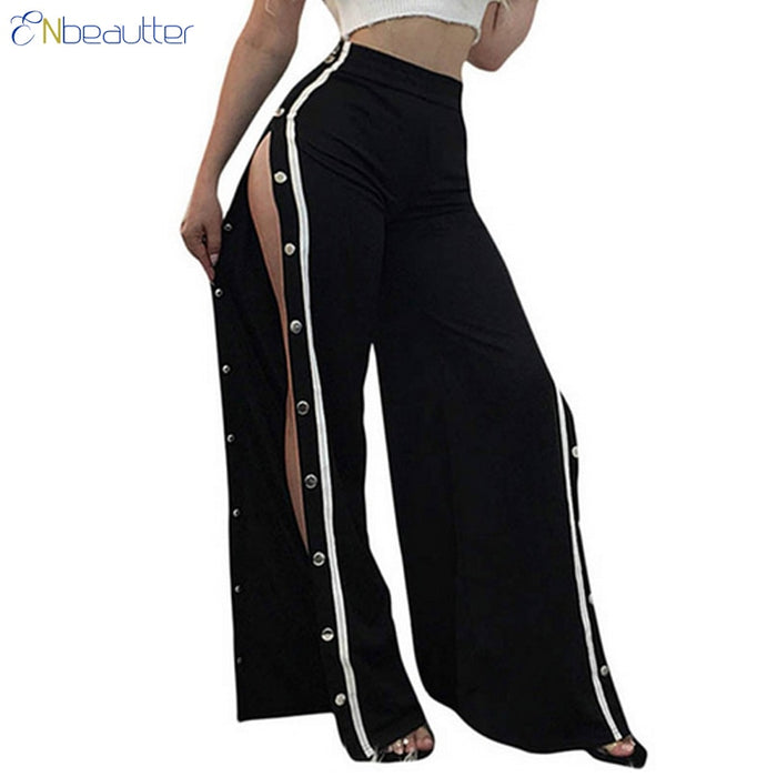 ENbeautter Women Pants Side Striped Button Female Summer Wide Leg Trousers Loose Casual Open Fork Long Pants 2018 Pantalones