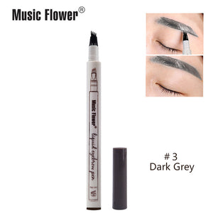 Music Flower 3 colors microblading eyebrow tattoo pen Tint Natural Long Lasting Waterproof Brown Fork tip Eyebrow Pencil