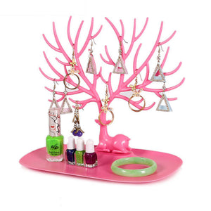 Little Deer Earrings Necklace Ring Pendant Bracelet Jewelry Display Stand Tray Tree Storage Racks Organizer Holder 25*15*22cm