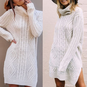 Helisopus Autumn Winter Women's Sweater Dress Warm Long Sweater Women Plus Size Female Pullover Knitted Sweater pull femme hiver