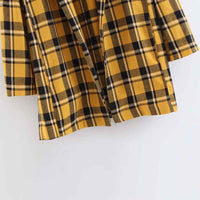 TXJRH Boyfriend Yellow Check Plaid Print Contrast Color Blazer Notched Suit Jacket