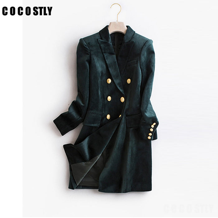 High Quality Blazer Woman Velvet Suit Slim Casual fashion office lady designs double breasted blazer
