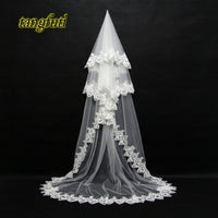 3 m Cathedral Bridal Veils 2018 New Bride Wedding Veil Long Bride Appliques