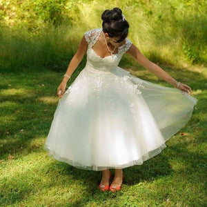 LORIE Short Wedding Dresses A Line White Tulle Vintage Sweetheart