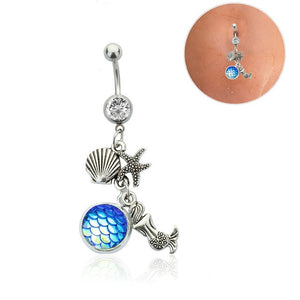 1PC 14G Body Piercing Jewelry Silver Navel Piercing Pineapple Dream Cacther Dangle Belly Button Ring for Women